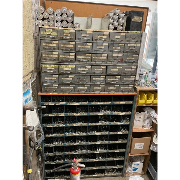 7 - PARTS SHELVES WITH ASSORTED CONTENTS AND HARDWARE INCLUDING NUTS, BOLTS, RIVETS, PAINT, HAND