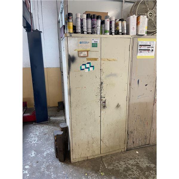 BEIGE METAL 2 DOOR CONSUMABLES CABINET WITH ASSORTED SHOP CONTENTS