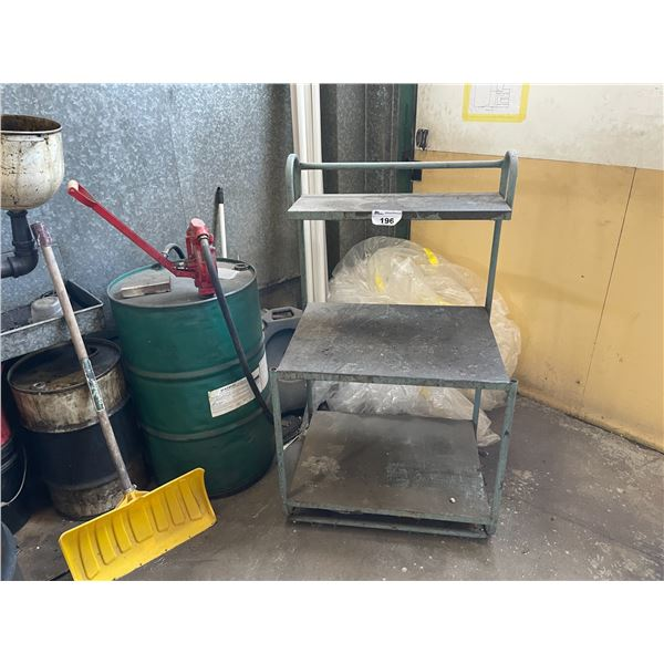 BLUE METAL SHOP TABLE, 3' METAL SHOP STAIRS AND FLUID BARREL WITH HAND PUMP