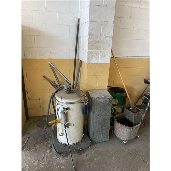 WHITE MOBILE HAND PUMP FLUID EXTRACTOR, OILY WASTE CAN AND ASSORTED LARGE BARS / TOOLS