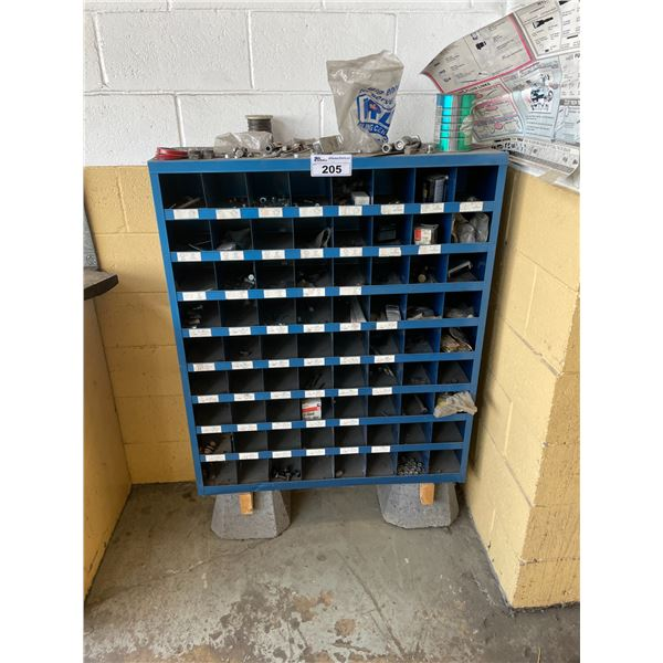 BLUE METAL 72 SLOT HARDWARE RACK WITH HARDWARE CONTENTS