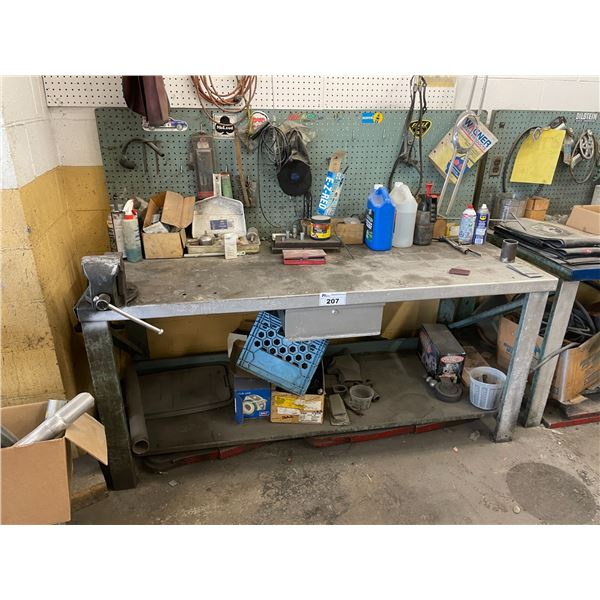 "METAL WORK TABLE 72""W X 30""D X 34""H WITH RECORD NO. 4 BENCH VISE AND ASSORTED TOOL / CONTENTS"