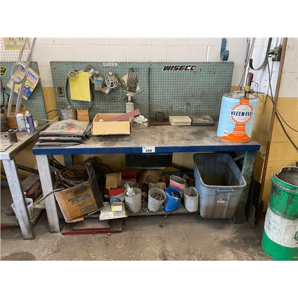 "METAL WORK TABLE 72""W X 30""D X 34""H WITH ASSORTED TOOL / CONTENTS"