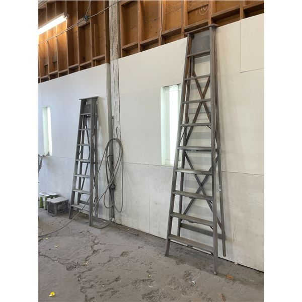 ALL CONTENTS OF PAINT BOOTH INCLUDING 10' WOODEN STEP LADDER, 8' WOODEN STEP LADDER, AND 9 FOLDING