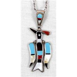 Zuni Inlay Bird Pendant Necklace, Sherry Nastacio