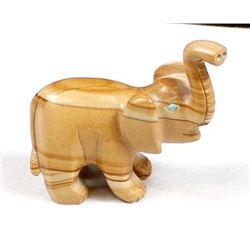 Zuni Travertine Elephant Fetish by Hiram Peynetsa