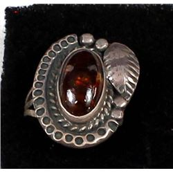 Navajo Old Pawn Sterling Fire Agate Ring, Sz 7.5