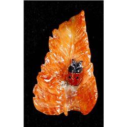 Zuni Carved Red Coral Ladybug on Leaf by Jeff Shetima