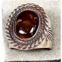 Navajo Old Pawn Sterling Fire Agate Ring, Size 11