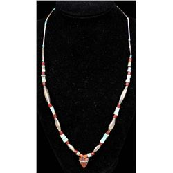 Navajo Sterling Turquoise Heishi Pendant Necklace