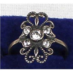 Vintage Sterling Silver & Rhinestone Ring, Size 7