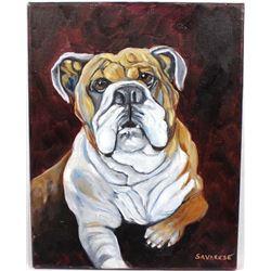 Original English Bulldog Oil Painting ''Spike'' by Judy Savarese