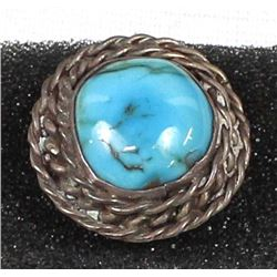Navajo Old Pawn Sterling Turquoise Ring, Size 8