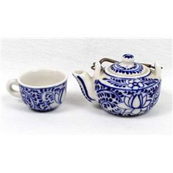 Miniature Ceramic Pottery Teapot and Cup