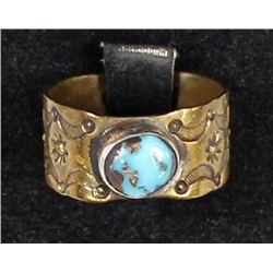Navajo Old Pawn Sterling Turquoise Ring, Sz 10.25
