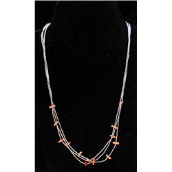 Vintage Navajo Liquid Silver and Coral Necklace