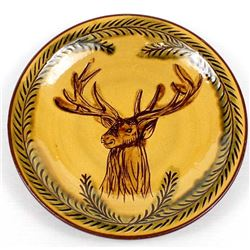 Bulgarian Glazed Pottery Clay Stag Plate