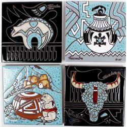 4 Southwestern Decorative Ceramic Tile Trivets