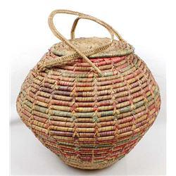 Vintage Mexican Lidded Basket
