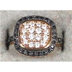 Gold Plated Sterling Rhinestone Ring, Size 6.25