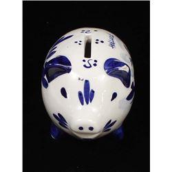 Vintage Delft Ceramic Pottery Piggy Bank