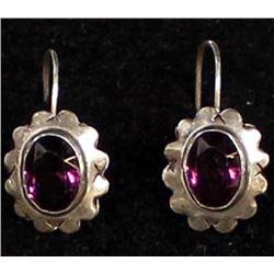Antique Sterling Amethyst Earrings