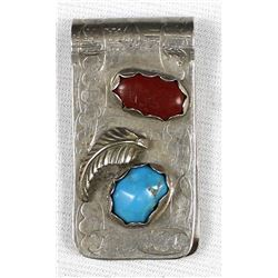 Navajo Sterling Turquoise Coral Money Clip