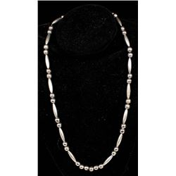 Native American Sterling Hollow Bead Necklace