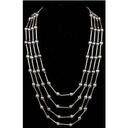 Navajo Old Pawn Silver Hollowbead Necklace