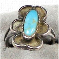 Navajo Old Pawn Sterling Turquoise Ring, Size 4.5