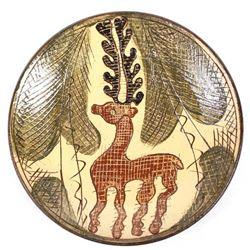Bulgarian Glazed Ceramic Pottery Deer Plate