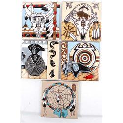 5 ''Earthtones'' Southwestern Ceramic Tile Trivets
