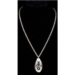 Vintage Santo Domingo Sterling Turquoise Necklace