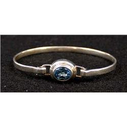 Sterling Silver and Blue Topaz Hinged Bracelet