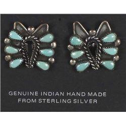 Zuni Sterling Turquoise Butterfly Earrings