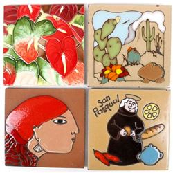 4 Southwestern Ceramic Decorative Tiles
