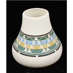 Sioux Carved Ceramic Pottery Vase by Red Feather