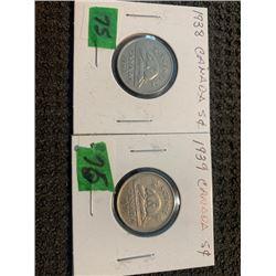 CANADA 1938 &1939 5 CENT