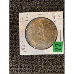 CANADA 1936 SILVER DOLLAR .