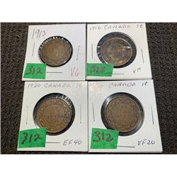 4 LARGE PENNIES 1913, 16, 17, & 20