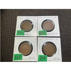 4 LARGE PENNIES 1913, 15, 17 &20