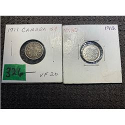 2 5 CENT SILVER 1911 & 1912