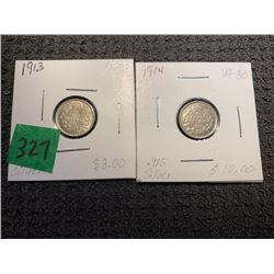 2 5 CENT SILVER 1913 &1914