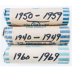 Group of (3) Rolls Canada 5 Cents - 1940-1969  Eras
