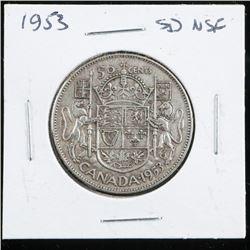 1953 Canada Silver 50 Cent SD NSF
