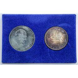 Royal Trust - Original Box 1966 Voyageur  Silver Dollar Plus Churchill Crown