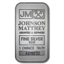 Johnson Matthey .999 Fine Silver 1oz Bar. No Longer Produced, Collector Bullion. (Serial Will Vary).