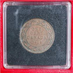 Canada 1911 Large One Cent Coin, Quad and  Case