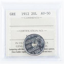 Greece 1912 20L AU50 ICCS