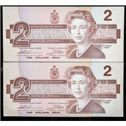 Bank of Canada 1986 2.00 UNC In Sequence